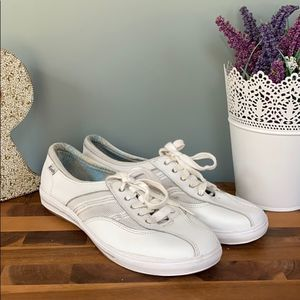 Keds White Leather Lace-Up Sneakers